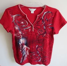 Just in time for your 4th of July celebration.....click on photo to see this item for sale in our Ebay store!  Christopher & Banks Medium Red 4th July Statue of Lady Liberty Patriotic Top Tee #ChristopherBanks #KnitTop #Casual #patriotic #liberty #freedom #fireworks #holiday #July #summer #redwhiteblue #USA #America #statuteofliberty #LadyLiberty #Medium #fashion