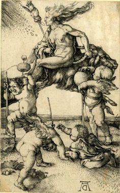A witch riding backwards on a goat Print made by: Albrecht Dürer.:1500  The British Museum