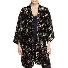 June & Hudson Metallic Floral-Embroidered Velvet Kimono (€88) ❤ liked on Polyvore featuring intimates, robes, black, kimono robe, velvet robe, velvet kimono robe and velvet kimonos