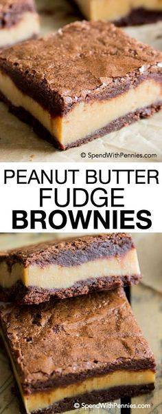 These decadent, surprise-inside peanut butter fudge brownies are made of fudgy chocolate brownies with a thick layer of simple peanut butter fudge sandwiched in the middle!