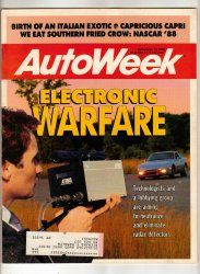 AutoWeek Car Magazine December 12 1988 Radar Capri NASCAR Racing