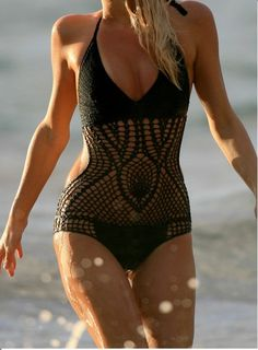 Black crochet one piece