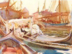 John Singer Sargent - Sketching on the Giudecca, Venice