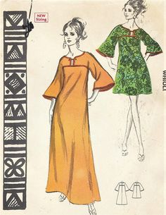 7c34c8ccc8ec 1960s Womens Waioli Dress Muu-Muu, Caftan or Swimsuit Cover Up Mini or Maxi  Polynesian Pattern 203 Size 16 Bust 38 FF Vintage Patterns