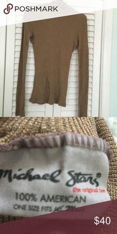 Michael stars shine turtleneck This one is is a bronze/deep tan/gold color and is gorgeous especially with a nice tan, pristine condition xoxo Michael Stars Tops Tees - Long Sleeve