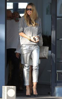 Elle Macpherson rocks the metallic jean and sweater combo