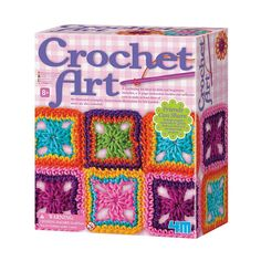 Great for beginners, the Crochet Art Craft Set has everything your child needs to make colorful crochet creations. The kit includes a illustrated instruction booklet, 2 crochet hooks, a plastic needle and 7 colorful yarns. Art Au Crochet, Learn To Crochet, Crochet Hooks, Easy Crochet, Play Doh, Crafts To Sell, Diy Crafts, Marquesan Tattoos, Santas Workshop