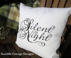Silent Night pillow # handpainted on white denim @ Seacliffe Cottage Designs