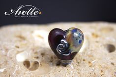 Majestic Heart focal pendant bead.  Amethyst irridescent blue sandy AvetteGlass Avette artisan handmade glass by AvetteGlass on Etsy https://www.etsy.com/uk/listing/278486114/majestic-heart-focal-pendant-bead