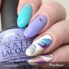 """""""By @deliciatenails """"Love this mani so much ^_^ I used - @girlybitscosmetics Mintal Precision  @opi_products You're Such a Budapest @barrymcosmetics…"""""""