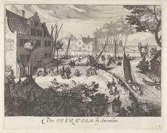 Simon Frisius | Overtoom te Amsterdam, Simon Frisius, 1595 - 1628 | Figuren voeren alledaagse bezigheden uit tussen woningen in het weidse landschap van de Overtoom.