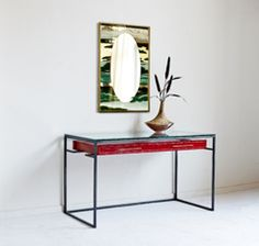 Red Lacquer Floating Drawer Desk