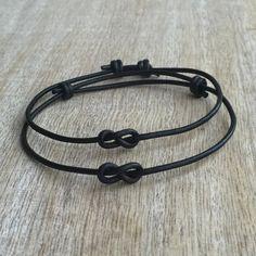 Simple Bracelet Couple Bracelets His and her Bracelet by Fanfarria Bf Gifts, Boyfriend Gifts, Gifts For Friends, Bracelet Crafts, Cord Bracelets, Bracelets For Boyfriend, Black Leather Bracelet, Leather Bracelets, Couple Jewelry