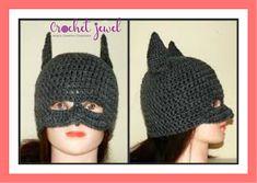 Amy's Crochet Creative Creations: Crochet Batman Hat (All Sizes) Batman Crochet Hat, Crochet Kids Hats, Knitting For Kids, Crochet Beanie, Crochet Crafts, Crochet Projects, Knitted Hats, Knit Crochet, Superhero Hats
