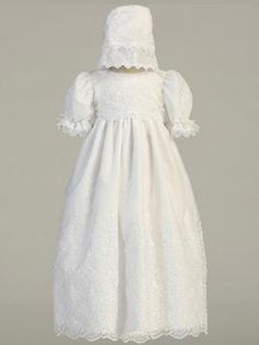 Girls Cap Sleeved Organza Floral Embroidered Baptism/Christening Gown
