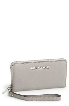 MICHAEL Michael Kors 'Jet Set' Saffiano Leather Phone Wristlet | Nordstrom in pearl grey
