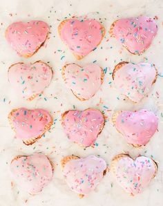 How cute are these homemade heart Pop Tarts? Can't wait to make these for the kids.