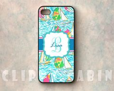 Handmade Custom Monogram Sublimation Case, Apple iPhone 5, 4, 4s, with Rubber Sides : Lilly Pulitzer Pattern, YaGottaRegatta Boats Sailboats $16.99