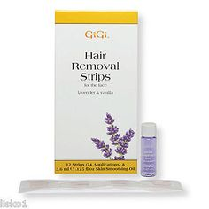 GIGI HAIR REMOVAL STRIPS FOR THE FACE LAVENDER & VANILLA SCENT 12 STRIPS