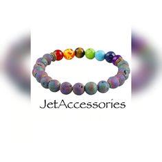 Rainbow Lava Rock Bracelet, Chakra bracelet, Chakra jewellery, Energy Yoga Bracelet, Unicorn Beads