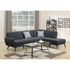 An uptown state of mind, this sectional is for the hipster with a unique sense of style. Tightly upholstered by smooth linen-like fabric with accent tufting on the back supports, this sectional also features a chaise and accent pillows.