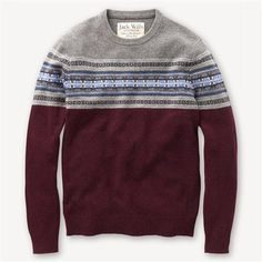 Harraton Fairisle Crew From Jack Wills Sweater Jacket, Men Sweater, Jack Wills Shirts, Mens Fashion Sweaters, Mens Fall, Fashion Essentials, Outdoor Outfit, Stylish Outfits, Men Dress