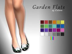 Floral flats. Colored flowers on a textured black background. Found in TSR Category 'Sims 4 Shoes Female'