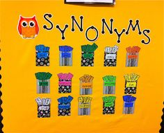 Synonym Word Wall: An interactive bulletin board that will be a perfect edition to your classroom. 31 of the most overused words displayed with 8 alternative/impressive synonyms. Classroom Displays, Classroom Organization, Classroom Decor, Class Displays, Year 3 Classroom Ideas, Future Classroom, Interactive Bulletin Boards, Interactive Display, Speech And Language