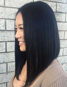 Nice Ideas for Short Straight Hairstyles for 2020 - Long Bob Hairstyles 2019 Short Straight Haircut, Long Bob Haircuts, Long Bob Hairstyles, Short Hair Cuts, Celebrity Hairstyles, Long Asymmetrical Haircut, Long Bob Cuts, Wedding Hairstyles, Straight Black Hair