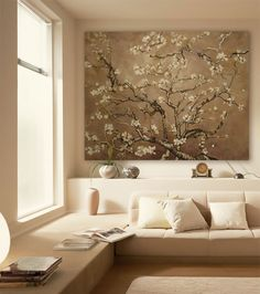 LIGHT COLOUR PALETTE: lovely colour and fabric combination - clean and modern, and light (not too cool/not too warm), beautiful Japanese wall pattern - lovely fabric or wall paper pattern potentially. Would look great going into the lighter champagnes/gold/metallic also.