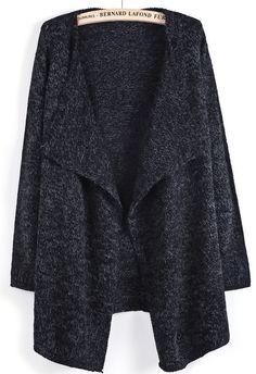 Black Long Sleeve Simple Design Cardigan