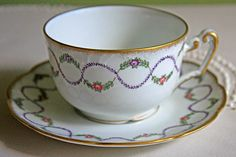 Royal Limoges Pommard Pattern Replacement Tea Cup. Pink & Lavender Floral Swags, Gold Trim. Antique Tea Cup Replacement by Royal Limoges, France. Cup 3 1/2 Inch in Diameter. Marked by manufacturer. It is in excellent vintage condition. No chips, no cracks. This is an amazing