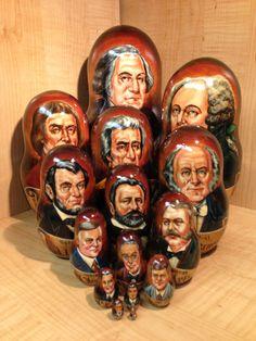 American Presidents Portraits by Zheleznov s Russian Matryoshka Nesting Doll 15 | eBay