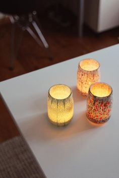 Vintage inspired fabric jam jar candle holders. This would be cool if you want to keep the honey jars going.