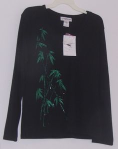 NWT SUNDAY BRUNCH Long Sleeve Black Top w/Bead & Sequin Palm Trees Sz. M #SundayBrunch #KnitTop #Casual