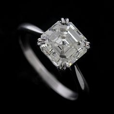 This is perfect... too bad the 3 carat diamond isn't included in the price... Platinum Solitaire Asscher Cut Diamond Engagement Ring Setting by OroSpot, $999.00  Here's the diamond: Here's the diamond: http://www.orospot.com/product/d13d300a1b/3-carat-asscher-diamond.aspx