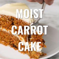 Loads of shredded carrots raisins and warm spices make this moist carrot cake the ultimate treat. The post Moist Carrot Cake appeared first on Orchid Dessert. Best Cake Recipes, Carrot Recipes, Sweet Recipes, Dessert Recipes, Homemade Cake Recipes, Dessert Blog, Pie Recipes, Recipies, Homemade Carrot Cake