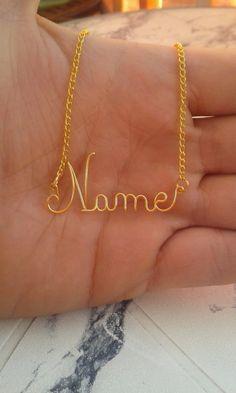 14K Gold Wire Name Necklace Personalized Jewelry by EssmiBijoux