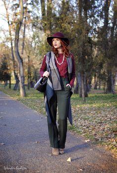 In darker tones  #cold #dark #color #outfit #burgundy #casual #vest
