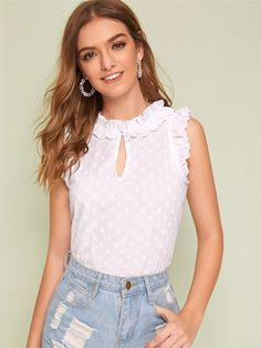 To find out about the Keyhole Neckline Frill Trim Polka Dot Blouse at SHEIN, part of our latest Blouses ready to shop online today! 60 Fashion, Fashion Sewing, Fashion News, Fashion Dresses, Fashion Trends, Neckline Designs, Polka Dot Blouse, Blouse Styles, Top Pattern