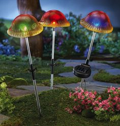 Solar Mushroom Garden Stakes Set of 3