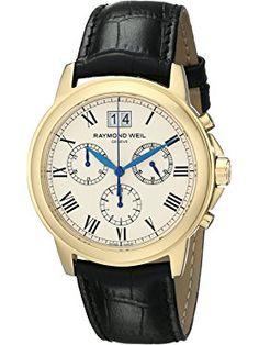 Raymond Weil Men's Tradition Swiss Quartz Watch with Black Faux-Leather Band Raymond Weil, Swiss Made Watches, Thing 1, Black Faux Leather, Watches For Men, Men's Watches, Quartz Watch, Chronograph, Traditional
