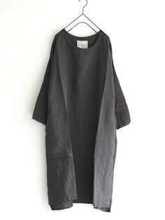 antiquités - azumadaki dress : linen - grey / natural
