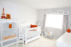 Gray and Orange French Nursery