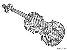 Violin Coloring Page For Adults
