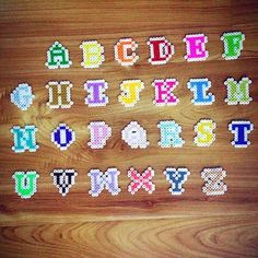 Alphabet hama beads by chittyqy. Maybe glue on a rectangle background for a name or initials Perler Bead Designs, Hama Beads Design, Diy Perler Beads, Pearler Bead Patterns, Perler Bead Art, Perler Patterns, Pixel Art, Motifs Perler, Peler Beads
