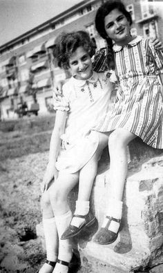 Barbara and Sanne Ledermann photographed near the Merwedeplein in Amsterdam, circa Barbara was one of the closest friends of Margot Frank and Sanne of Anne. Sanne Ledermann was murdered in Auschwitz in late Barbara survived the war. Margot Frank, Anne Frank, Al Capone, Great Names, Young Life, Losing A Child