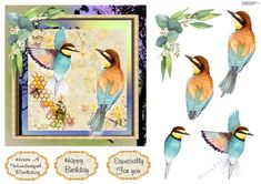 These beautiful brightly colored birds are a delight to the eye. Great for a birthday card for a bird watcher. Decoupage the birds. Bee Eater, Cat Pose, Animal Birthday, Just Friends, 12 Days Of Christmas, Colorful Birds, Card Designs, Pet Birds