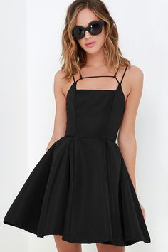 Gift of Rhyme Black Skater Dress at Lulus.com!