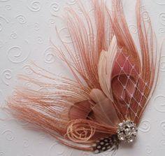 pink peacock fascinator for bridesmaids